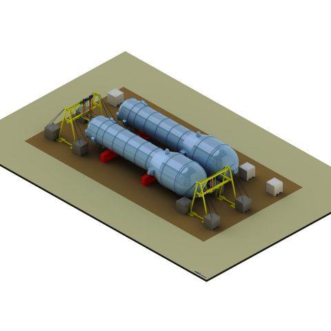 Portique pour démantèlement de générateur vapeur de centrale nucléaire