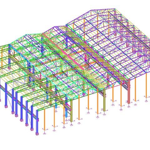 Modélisation et calcul d'une charpente de bâtiments de production – industrie sidérurgique